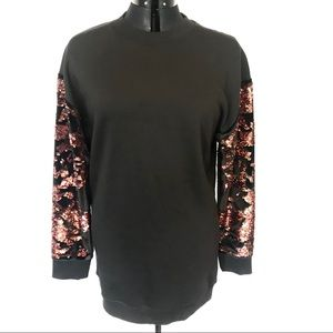 TOPSHOP Sweatshirt with Velvet Sequin Sleeves